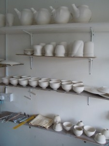 Autumn 2011 work drying for the bisque firing